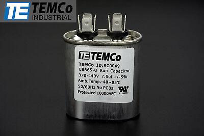 Temco 7.5 Mfd Uf Run Capacitor 370440 Vac Volts Ac Motor Hvac 7.5 Uf