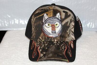WOLF HEAD OUTDOOR BASEBALL CAP HAT ( BLACK & CAMOUFLAGE ) (Wolf Head Hat)