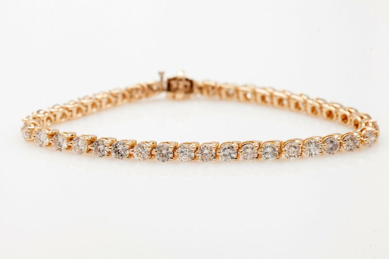 Estate $12,000 7ct Diamond 14k Yellow Gold Tennis Bracelet