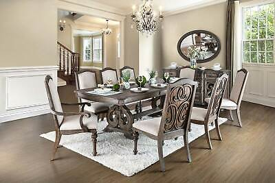 NEW 9 piece Traditional Brown Dining Room Rectangular Table and 8 Chair Set ICCD