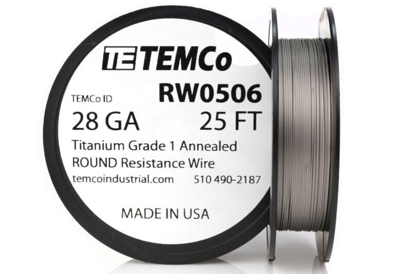 TEMCo Titanium Wire 28 Gauge 25 FT Surgical Grade 1 Resistance AWG ga