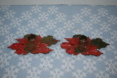 Vintage Pair Of Cast Iron Christmas Poinsettia Candle Holders Pat