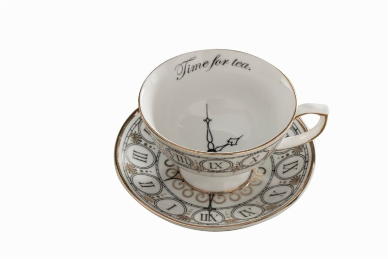 Victorian Trading Co Time For Tea Cup & Saucer White Gold