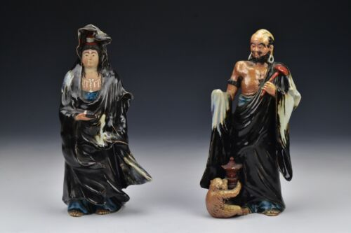 Signed Japanese Meiji Period Porcelain Statues Man with Monkey / Woman