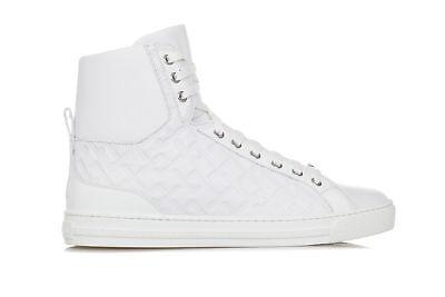 VERSACE Mens Shoes Sneakers Greek-Key Print White Leather MEDUSA Logo Patent