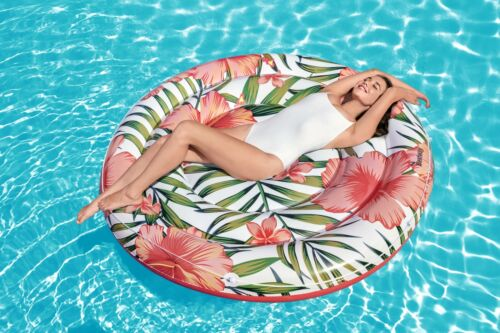 62 Inches Peaceful Inflatable Palms Pool Float Swimming Water Extra Large Round