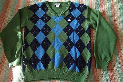LACOSTE SWEATER SZ 6,green v neck,merino wool,green,blue, argyle,plaid  cz