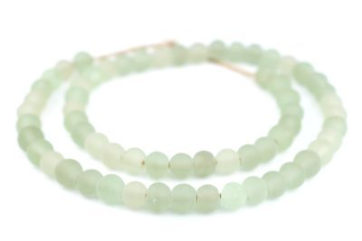 Green Aqua Frosted Sea Glass Beads 9mm Round Large Hole 24 Inch Strand