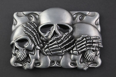 SEE HEAR SPEAK NO EVIL SKULLS BELT BUCKLE METAL
