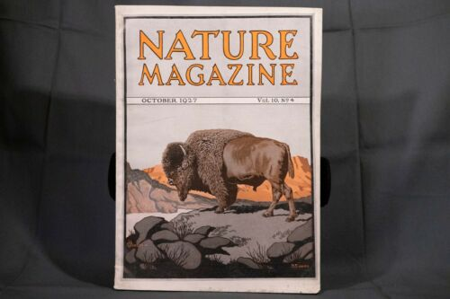 Nature Magazine October 1927, Buffalo Lithograph Front Cover, Phillip Hexom