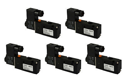 5x 24v Dc Solenoid Air Pneumatic Control Valve 3 Port 3 Way 2 Position 14 Npt