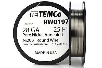 Temco Pure Nickel Wire 28 Gauge 25 Ft Non Resistance Awg Ni200 Nickel 200ga