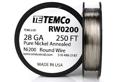 Temco Pure Nickel Wire 28 Gauge 250 Ft Non Resistance Awg Ni200 Nickel 200ga