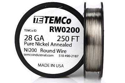 Temco Pure Nickel Wire 28 Gauge 250 Ft Non Resistance Awg Ni200 Nickel 200ga