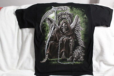 GRIM REAPER WINGS THRONE HELLHOUND SKULL SKULLS ORACION SANTA MUERTE T-SHIRT](Grim Reaper Wings)