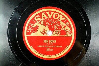 Herbie Fields Hot Seven - Hot R & B Shaker Jazz Savoy 78 RPM - Run Down   A14