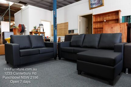 New 3 + 2 Seater Chaise Lounge Bonded Leather Sofa NOW ON SALE
