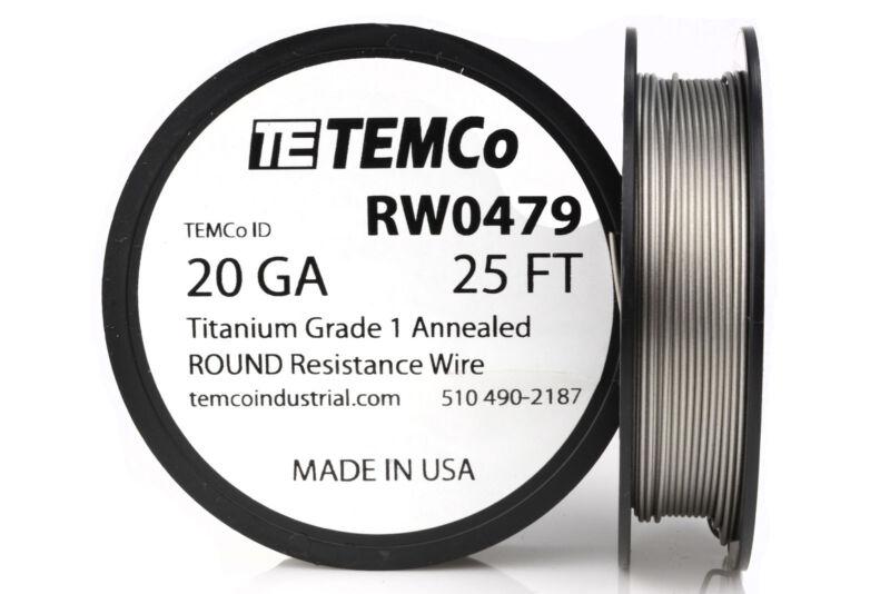 TEMCo Titanium Wire 20 Gauge 25 FT Surgical Grade 1 Resistance AWG ga