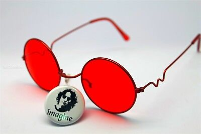 IMAGINE PIN OF JOHN LENNON WEARING SUNGLASSES + RED GLASS LENS W/RANDOM FRAME