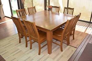 Solid timber square dining table with matching chairs Bankstown Bankstown Area Preview