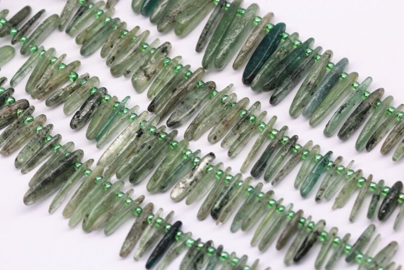 """Natural Green Quartz Graduated Pebble Nugget Points Beads 12-25mm 15.5"""" Strand"""