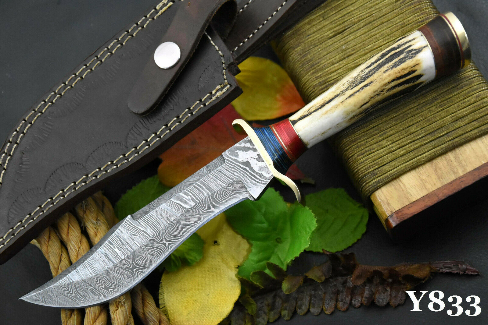 Custom Damascus Steel Hunting Knife Handmade With Stag Horn Handle Y833  - $29.99