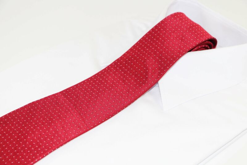 Mens Red With Silver Dots Patterned 8cm Neck Tie