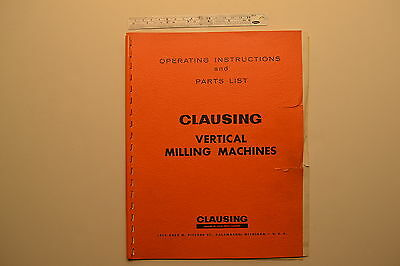 J104 Clausing Vertical Milling Machines Operating Instructions Parts List 66