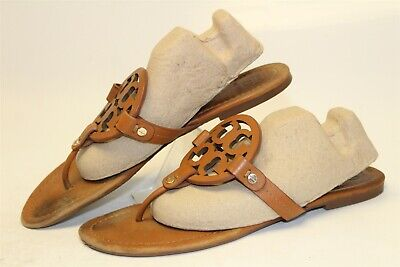 Tory Burch USED Miller Womens 9 M Brown Leather Thongs Sandals Flats Shoes