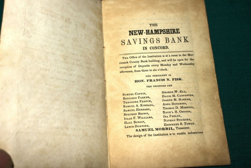 #7362,Rare Bank Book, Levi Colby 1844 Henniker,NH Savings Bank New Concord