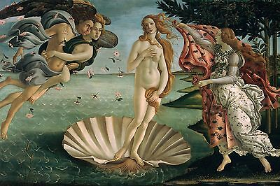 "The Birth Of Venus by Botticelli, Canvas Print, 10.5""x16"", Giclee Canvas Print"