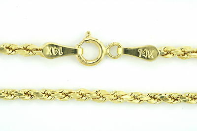 Real Genuine 14k Yellow Gold 2mm Womens Diamond Cut Rope Chain Link Bracelet  7""