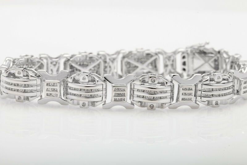 "Designer $18,000 10ct Diamond 14k White Gold Bracelet 44g 8.5"" Heavy"