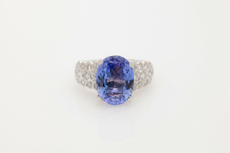 Estate $12,000 7ct D Block Tanzanite Diamond Platinum Wedding Band Ring