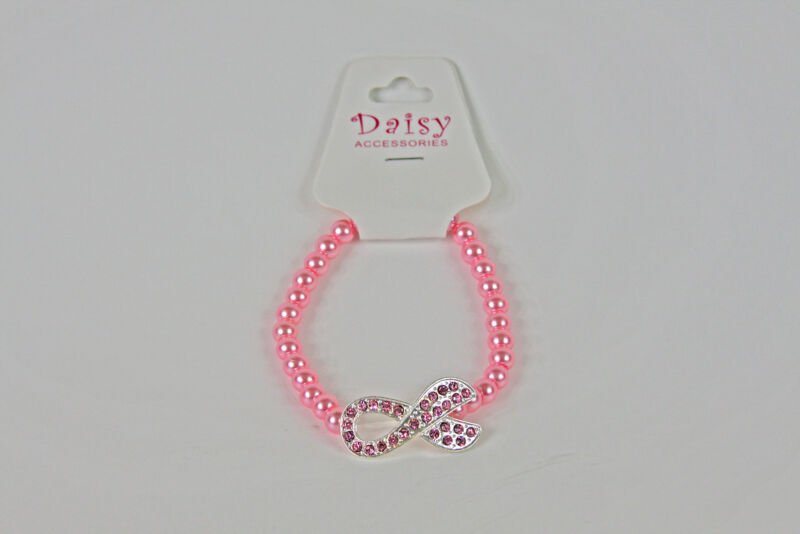Pink Ribbon Breast Cancer Awareness Beaded Cord Bracelet CHOICE Light Dark Pink