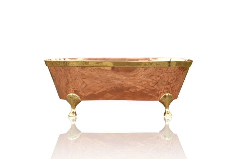 """66"""" Large Freestanding Natural Copper Clawfoot Bathtub, Brass Accents"""