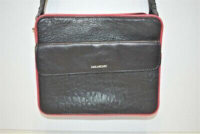 Zadig et voltaire, sac porté bandoulière, en cuir noir et finition rouge