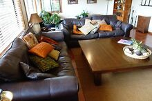 2 x large soft real leather lounges Gerringong Kiama Area Preview