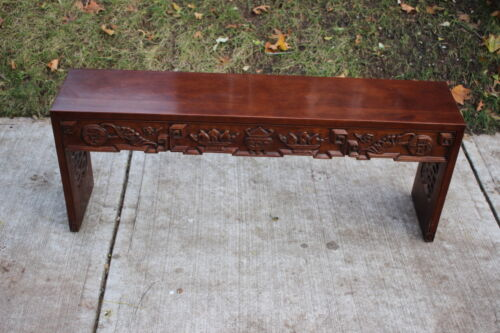 Antique Tomlinson Carved Mahogany Bench Asian Style Cocktail Bench
