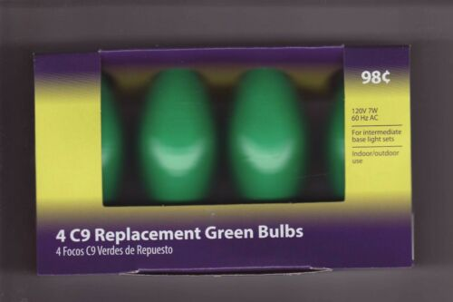 4 Pack  GREEN  C9  Replacement Bulbs Lights  for Wedding  Party  Christmas Patio