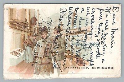 Barbarossa Ship - Dampfer Barbarossa—Ship Deck Couple PMC Cherbourg—Rare Antique Louisville 1902