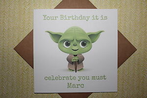 Star wars birthday card ebay handmade personalised star wars yoda birthday card father son brother uncle bookmarktalkfo Choice Image