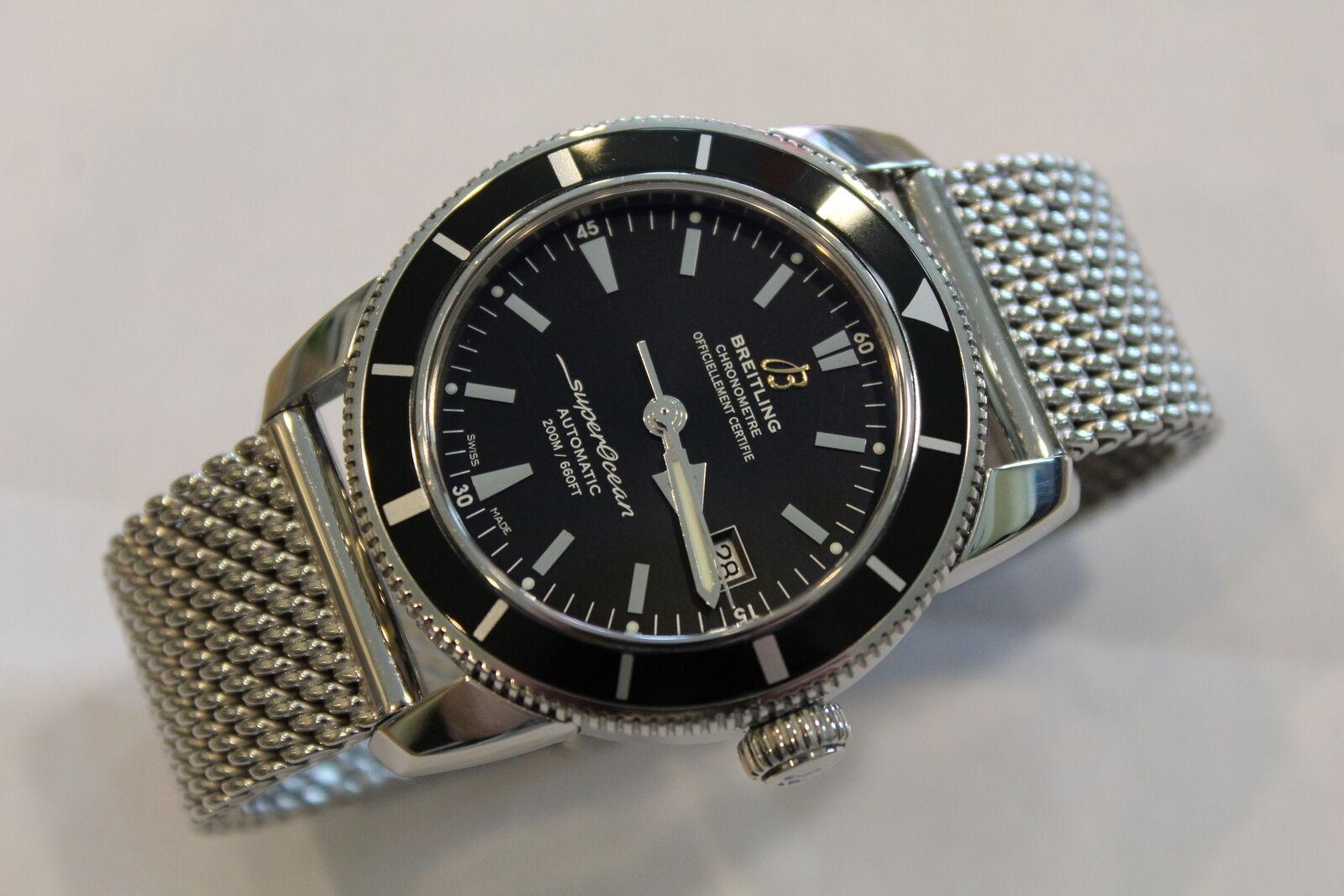 Breitling SuperOcean Heritage Black Bezel/Dial 42mm A17321 Mens Watch w OEM Mesh - watch picture 1