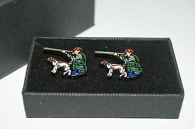 Hunting Cufflink Set Shooting Hunter & Gun Dog Gift Boxed Enamel Game Wedding
