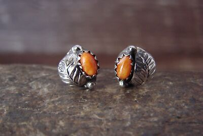 Native American Sterling Silver Leaf Orange Spiny Oyster Post Earrings by Joe