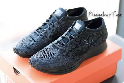 W US 7 Nike Flyknit Racer Running Shoe Triple Black