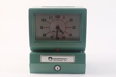 Acroprint 150nr4 Punch Card Time Clock System No Keys Or Accessories - Green