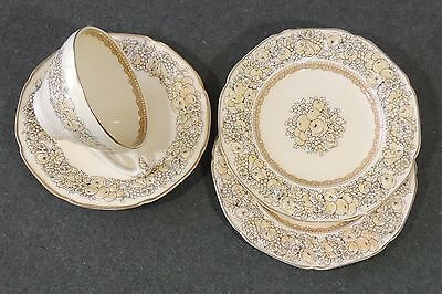 (4 Crown Ducal Florentine Cream Cup & Saucer 2 Plates Embossed Rim Scallop Edge )