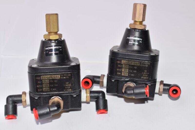 Lot of 2 Norgren 11-018-164 Pressure Regulators, 150 PSIG MAX