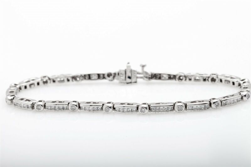 Estate $8000 4ct Princess Cut Round Diamond 14k White Gold Tennis Bracelet 7.5""